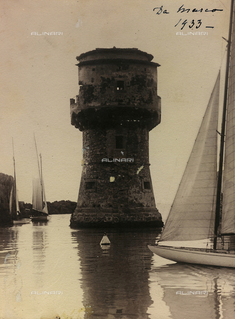 View of a tower in the sea