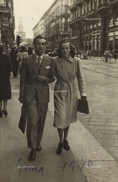 Portrait of couple in Via Dante in Milan