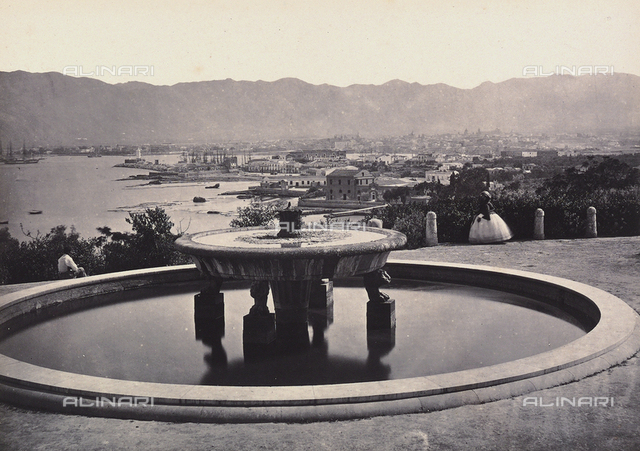 """Panorama from the Villa Belmonte with the fountain. Palermo"""