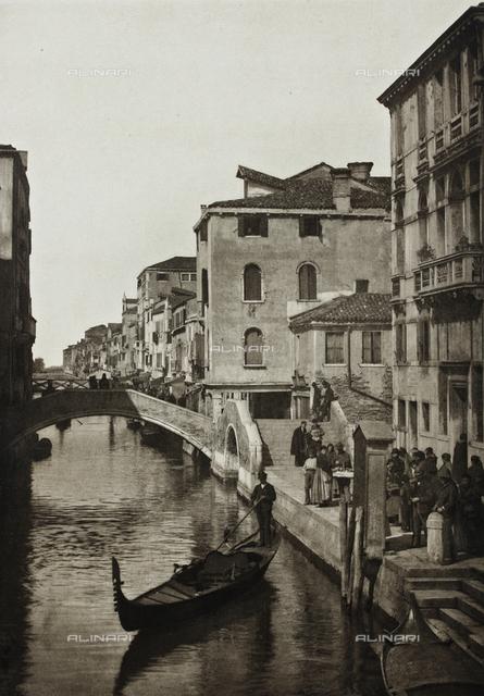 """""""Calli, Canali e Isole della Laguna"""", edition by Ferdinando Ongania, animated view of Rio della Misericordia and the bridges Aseo and Lustraferri in Venice"""
