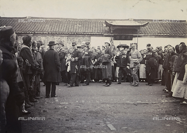 A group of people during a demonstration in a Chinese city