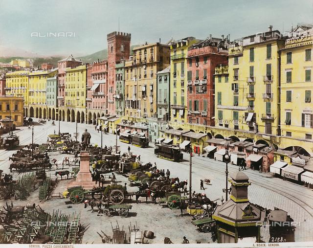 View of Piazza Caricamento in Genoa, with the Monument to Raffaele Rubattino realized by Augusto Rivolta