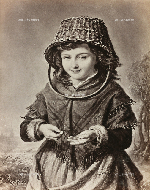 Little girl counting money, painting by H. Kretzschmer