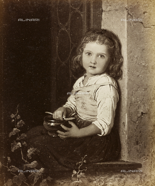 Little girl on a window sill, oil on canvas, Johann Georg Meyer known as Meyer von Bremen (1813-1886)