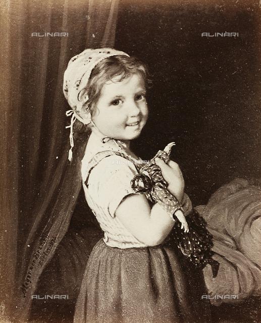 Little girl with doll, oil on canvas, Johann Georg Meyer known as Meyer von Bremen (1813-1886)