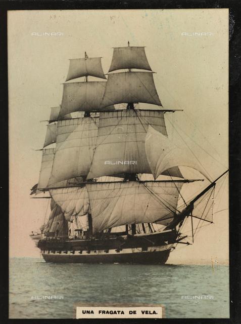 A sailing frigate in the sea