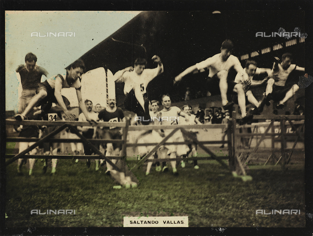 A group of athletes during a steeplechase