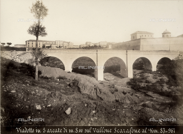 Viaduct of five arches (8 meters in height) built over the Scarafone ravine, on the Benevento-Campobasso railway line, Km. 83+967.