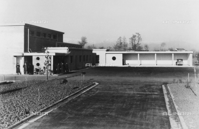 The guard and the shed for private vehicles in the 'Tommaso dal Molin' military airport in Vicenza