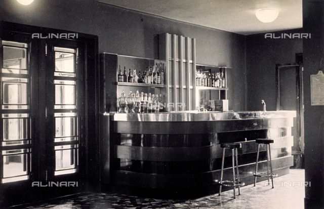 Interior of the bar in the Officers' Club in the 'Tommaso del Molin' military airport in Vicenza