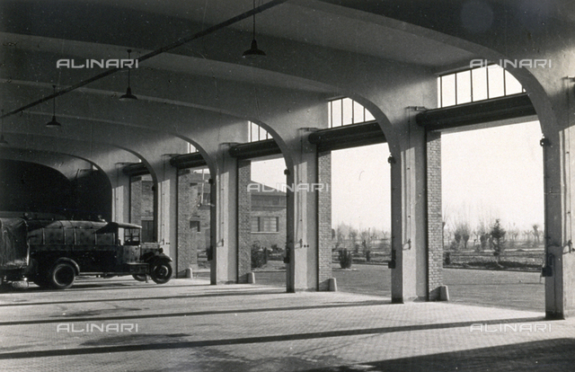 Interior of the garage at the 'Tommaso del Molin' airport, in Vicenza, Italy