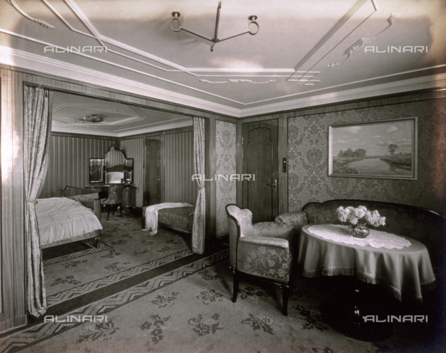 View of an elegantly furnished luxury cabin on the German transatlantic liner 'Cap Arcona'