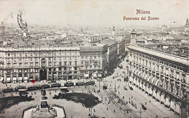 Piazza Duomo in Milan photographed from the Cathedral, with the Monument to Vittorio Emanuele II; postcard