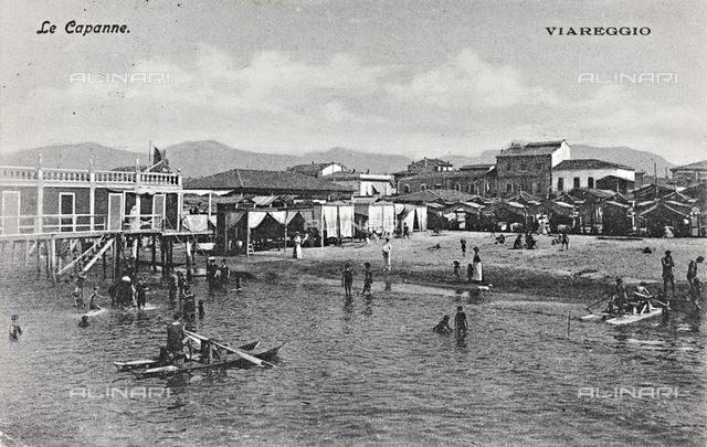 Bathers in Viareggio; postcard