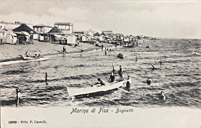 Bathers in Marina di Pisa; postcard