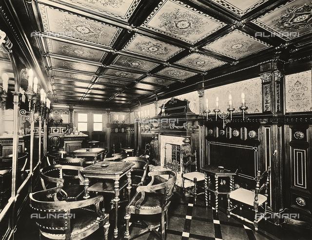 "Smoking room and bar in the passenger ship ""Brasile"""