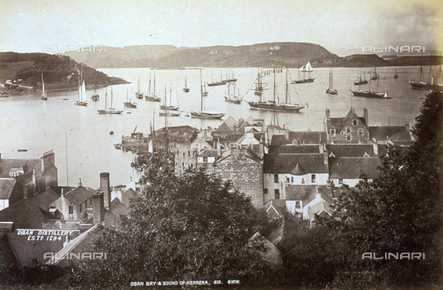 View of the Bay of Oban with boats at mooring