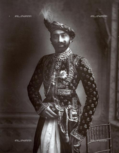 Full-Length portrait of His Highness Jasvantsingji Fatehsingji, Thakore of Limbdi, in sumptuous traditional attire