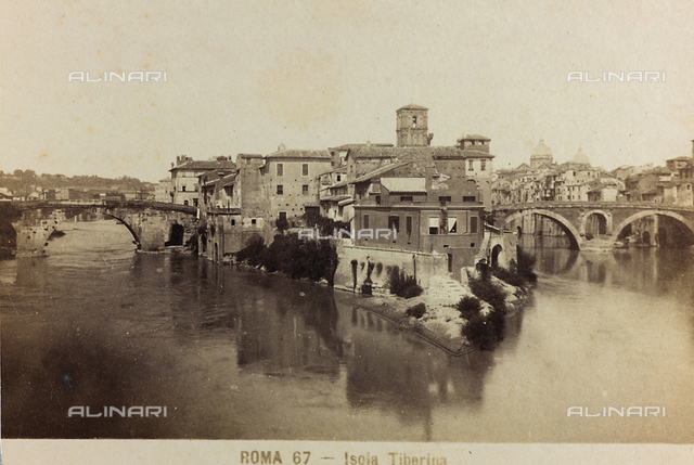 View of the Tiber Island in Rome, with the Bridge Fabrico, on the right, and the Bridge Cestio, on the left
