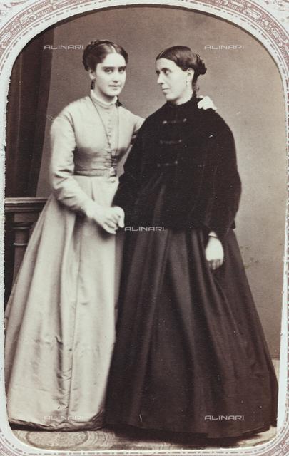 Portrait of Teresa De Ferrari, Mother Superior of the Monastery of Albaro in Genoa, with her mother Antonietta Celesia De Ferrari; carte de visite