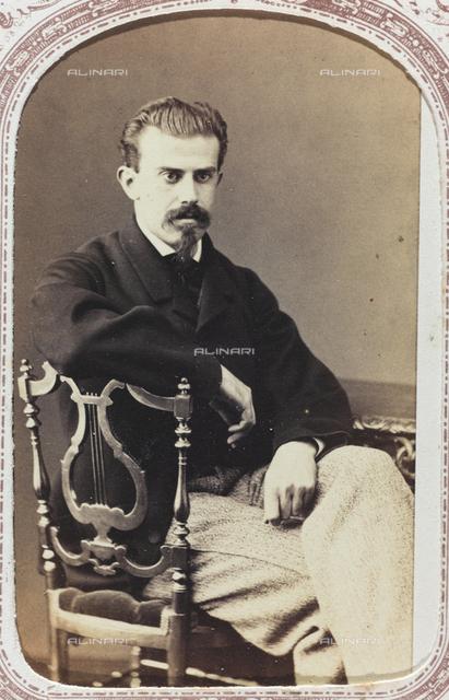 "Portrait of a young man, carte de visite; the support contains the indication ""Giambattista de Ferrari"""