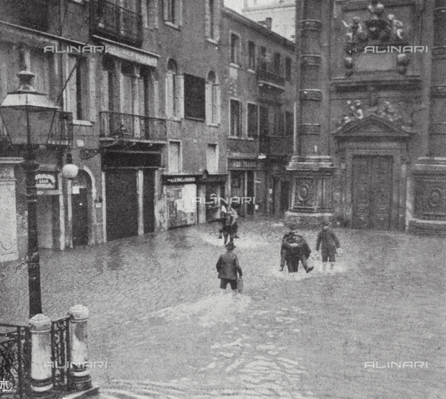 A piazza in Venice flooded by the high tide