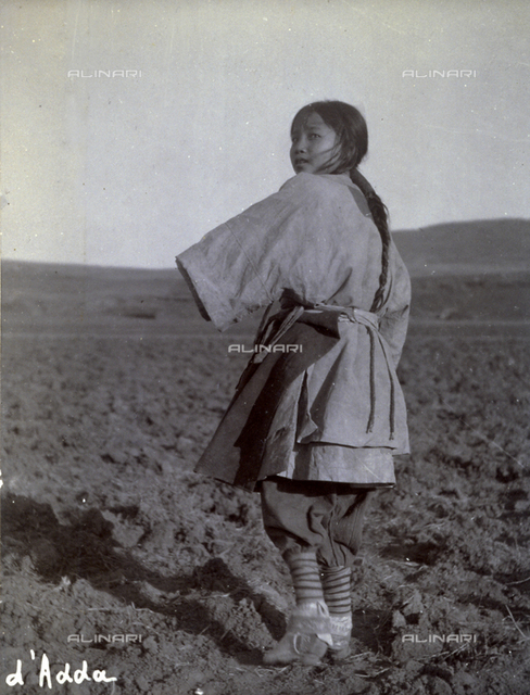 Manchurian Chinese girl working in the fields