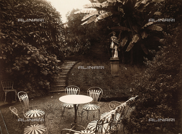 View of the garden of Villa Zina, former Villa Giulia in Bellagio on the Lake Como.