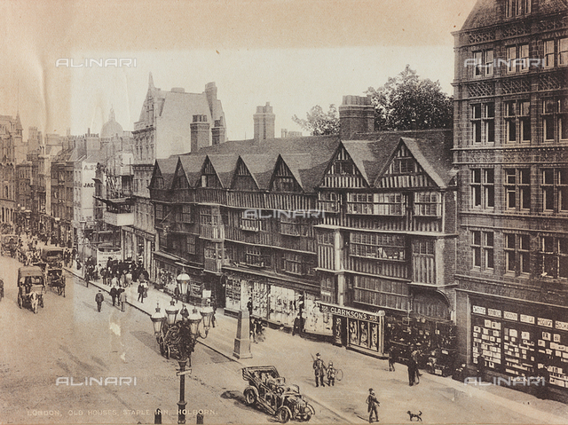 Animated view of High Holborn with the old buildings of Stample Inn in London