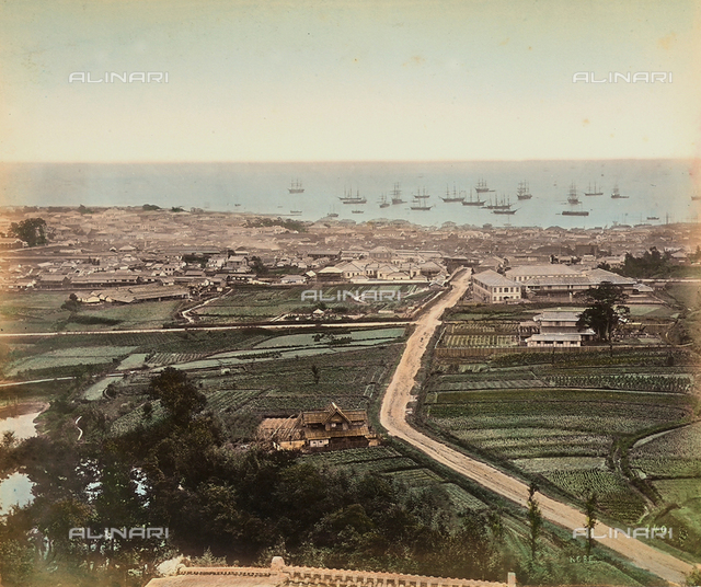 Panorama of the port city of Kobe, Japan