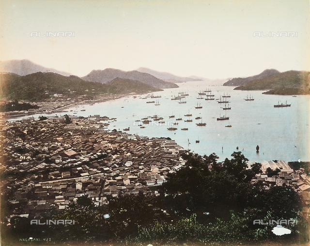 View of the port and bay of Nagasaki, Japan