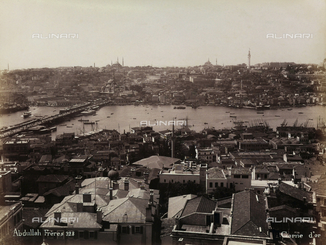 Panorama of Constantinople at the entrance of the Golden Horn