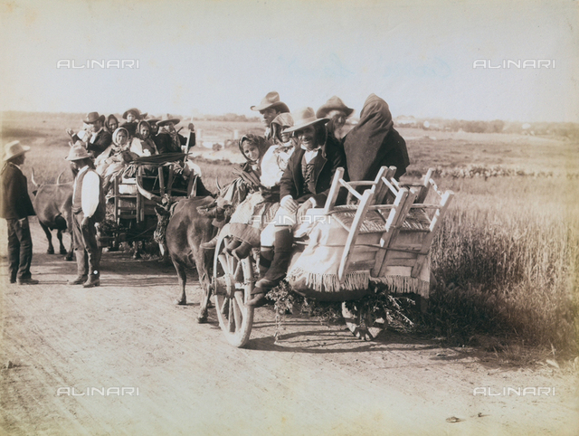 """""""Excursion en Italie"""": people on carriages"""