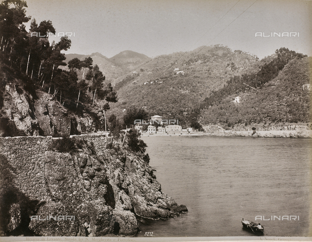 """Album """"Gênes et ses environs octobre 1891 - 1307"""": Strada between Santa Margherita Ligure and Portofino in the Levante Riviera. Date 1307 refers to the Rumi calendar (calendar used since 1839 by the Ottoman Empire and the Turkish Republic until 1926)"""