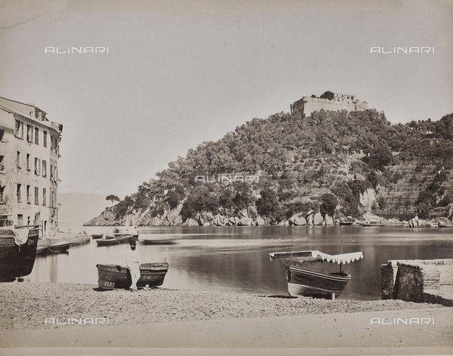 """Album """"Gênes et ses environs octobre 1891 - 1307"""": view of Portofino in the Levante Riviera. Date 1307 refers to the Rumi calendar (calendar used since 1839 by the Ottoman Empire and the Turkish Republic until 1926)"""