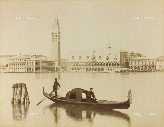 Gondoliers in the Venice lagoon, in front of the Bank of the Schiavoni