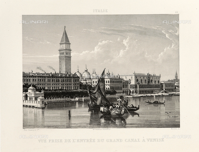Animated View of Venice, engraving from a daguerreotype, Dusacq & C., work preserved in the Fratelli Alinari Museum of Photographic History, Florence