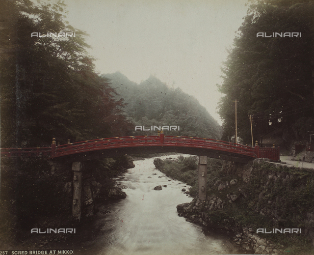 View of the Scred Bridge at Nikko, a typical Japanese arched bridge