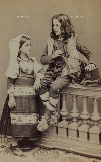 "Album ""Traditional costumes"": portrait of little boy and girl in traditional costume in traditional costume of Saracinesco"