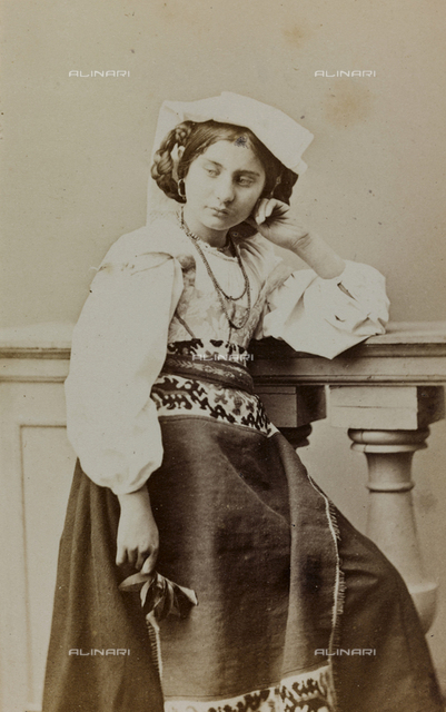 """Album """"Traditional costumes"""": portrait of a woman in traditional costume"""