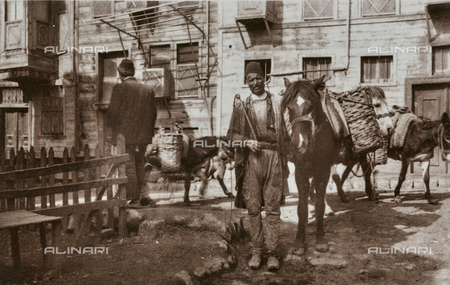 Men with donkeys and mules, Istanbul