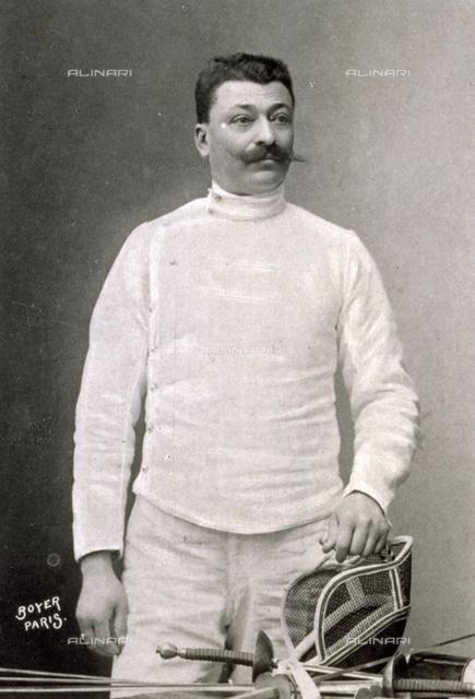 Three-quarter-length portrait of the French fencer Adolphe Rue