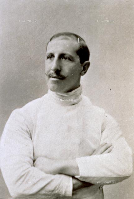 Half-length portrait of the Italian fencer Giuseppe Pini