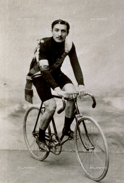 Portrait of the French racing cyclist Paul Ernst Bourillon on his bicycle