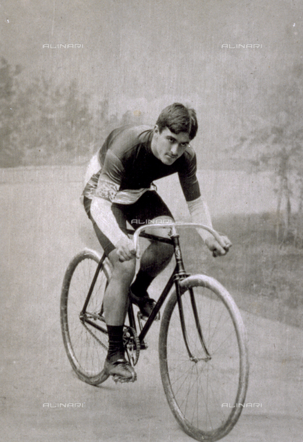 Portrait of the French racing cyclist Edmond Jacquelin on his bicycle