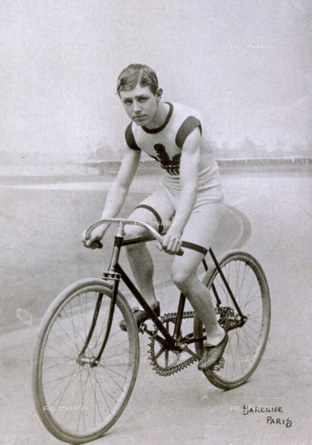 Portrait of the famous Welsh racing cyclist Michael riding a bicycle