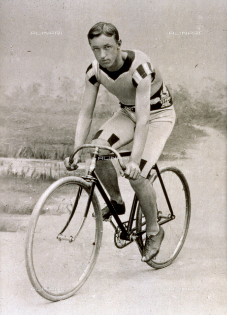 Portrait of the United States racing cyclist Johnny Johnson on a bicycle
