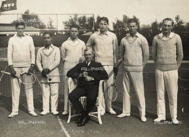 Portrait of students of the University of Cambridge tennis tournament on a tennis court