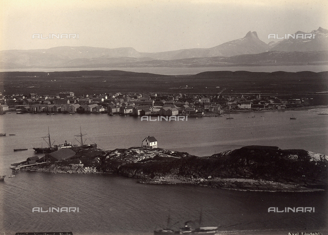 View of the port and city of Bodภin Nordland, Norway.
