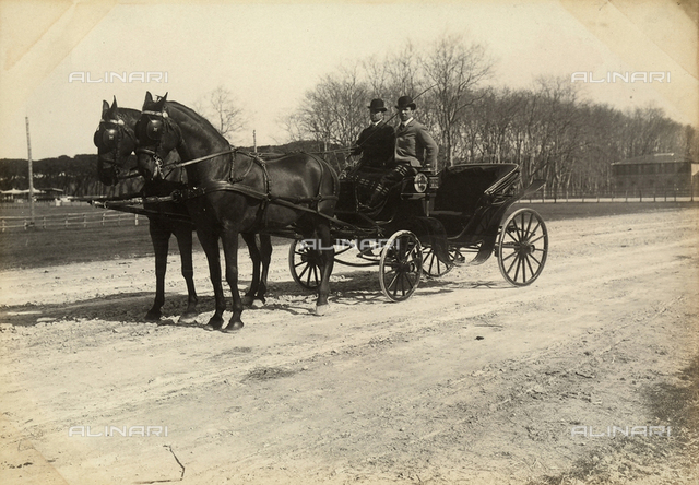 Two men in a carriage